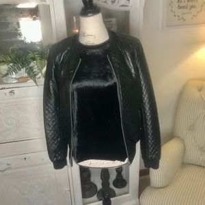 Black faux SOFT leather, quilted jacket
